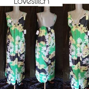 Lovestitch green/blk vibrant maxi dress.  Sz Lrg